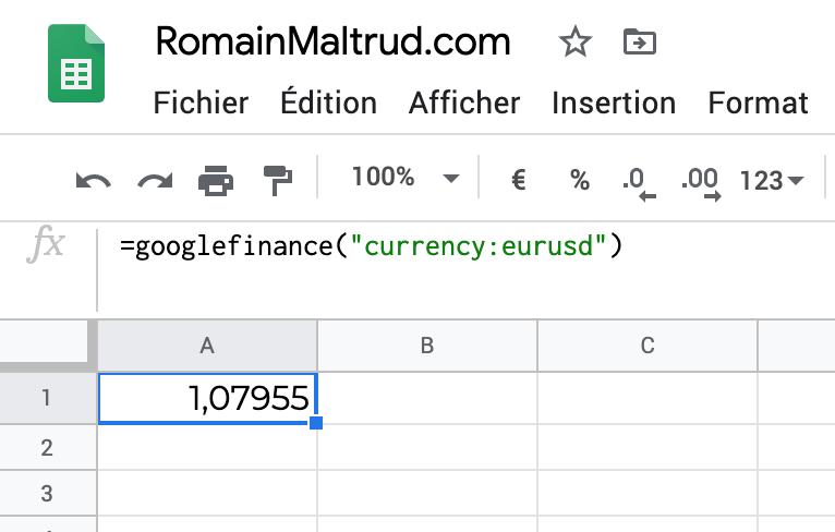 taux de change dans GoogleSheet : exchange actuel