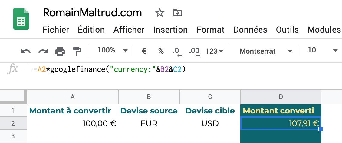 taux de change dans GoogleSheet : convertir un montant