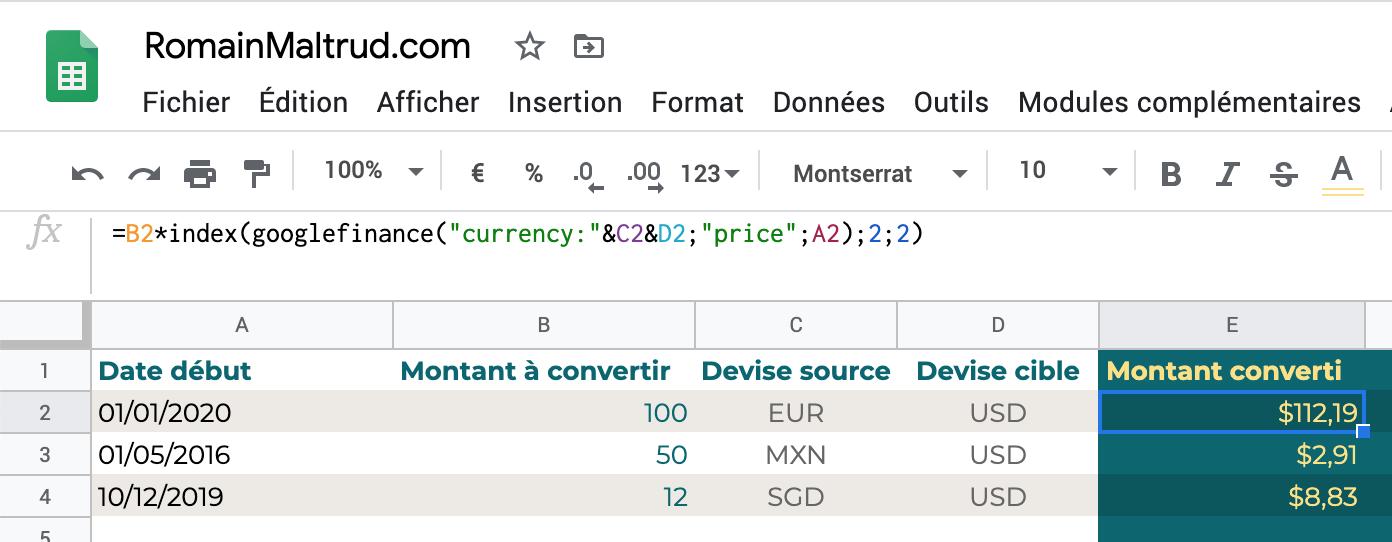 taux de change dans GoogleSheet : montant converti à date, ligne par ligne