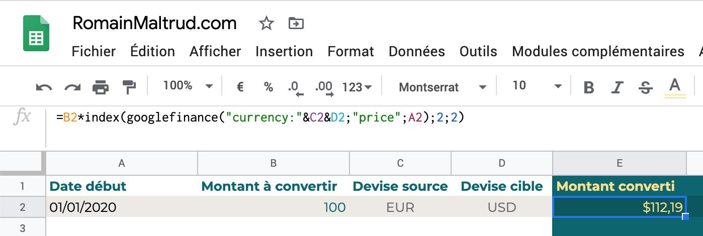 taux de change dans GoogleSheet : montant converti à date dans une seule cellule